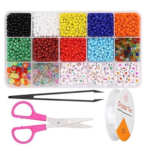 Taigoehua 1750PCS Bracelet Beads for Jewelry Making Kit, Bead Craft Kit Set, 4mm Beads DIY Art and Craft with Elastic String(15M) Scissors and Tweezers