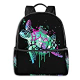 Tortoise Mountain Bicycle Laptop Backpack Fashion Theme School Backpack