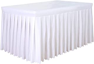 Tina 6' ft Polyester Fitted Tablecloth Table Skirt for Wedding Banquet Trade Show White