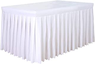 Tina 8' ft Polyester Fitted Tablecloth Table Skirt for Wedding Banquet Trade Show White