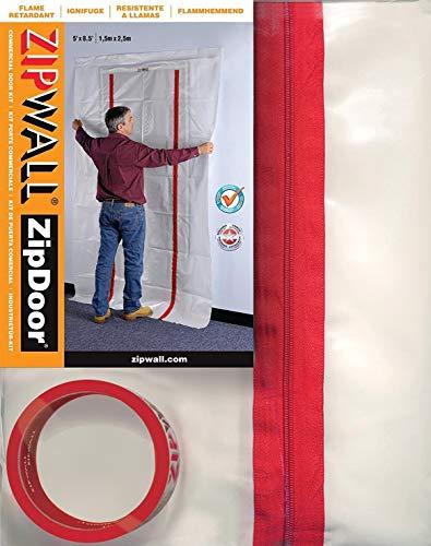 ZipWall ZipDoor ZDC Commercial Dust Barrier Zipper Door Kit, Single, White
