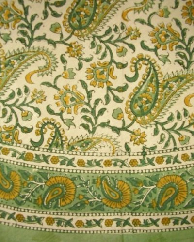 HOMESTEAD Block Print Rajasthan Paisley Round Cotton Tablecloth 72' Green