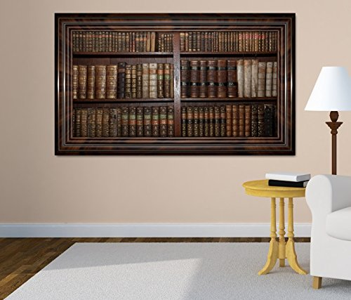3D Wandtattoo alte Bücher Buch Regal antik Bibliothek selbstklebend Wandbild Tattoo Wohnzimmer Wand...