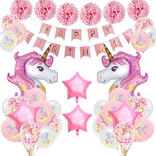 SPECOOL Unicorn Party Decorations Supplies, Pink Happy Birthday Banner with 2 Huge Foil Unicorn Balloons Latex Confetti Balloons Birthday Party Supplies for Kids Boys Girls Teens