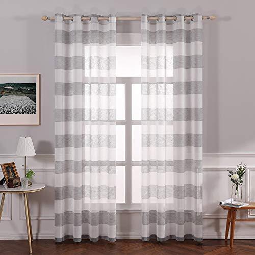 MIULEE Voile Vorhang Transparente Horizontale Streifen Gardine aus Voile mit Ösen Schlaufenschal Ösenschals Transparent Fensterschal Wohnzimmer Schlafzimmer 2er Set 225 cm x 140 cm(H x B)