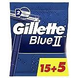 Gillette BlueII - Maquinillas Desechables para Hombre 15+5, dos Hojas de Afeitar, Cabezal Fijo