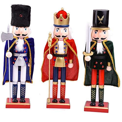 DeepBlue - Cascanueces de madera creativa con forma de cascanueces de 38 cm para decoración de títeres, cascanueces, soldado con capa, figuras para el hogar, escritorio, manualidades, adorno, regalo de cumpleaños