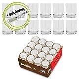 Bundle: Teelichthalter Promo (Sandra Rich) & 48 Teelichter mit 8 Stunden Brenndauer (bolsius): Set 12 Teelichthalter & 48 Teelichter