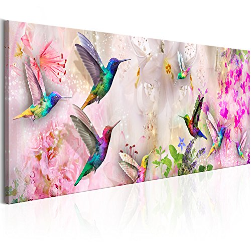 murando Cuadro en Lienzo Colibrí 150x50 cm 1 Parte Impresión en Material Tejido no Tejido Impresión Artística Imagen Gráfica Decoracion de Pared Flores g-C-0071-b-a