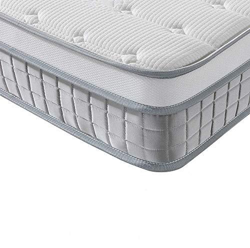 Vesgantti Boxtop Matelas 25cm Épaisseur Ressort Ensachés en Mousse Mémoire de Forme 7 Zones de Confort CertiPUR-US (Mode, 90x190)