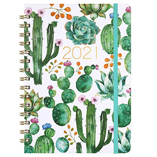 "Planner 2021 - Weekly & Monthly Planner 8.5"" x 6.4"", Jan 2021 - Dec 2021, Flexible Hardcover, Strong Binding, Thick Paper, Tabs, Inner Pocket, Elastic Closure, Inspirational Quotes"