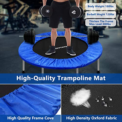 MOVTOTOP Mini Trampoline 38 Inch, Folding Indoor Trampolines with Safety Pad, Fun Mini Fitness Rebounder Trampoline for Kids Adults Indoor/Garden Workout Max 220lbs, Blue