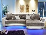 expendio Multimedia Sofa Larenio HiFi Wohnlandschaft 322x200 cm grau beige Couch Mikrofaser Hi Fi LED Beleuchtung Wohnzimmer