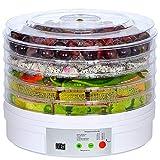 Deshidratador de Alimentos 250W, Desecadora de Fruta con 5 Bandejas Ajustables, Temperatura Regulable 35 °C-70 °C,para Verduras Carne Flores,sin BPA