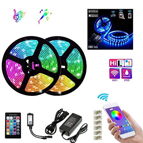EMC Italy Striscia LED RGB 10M (2x5M) | 600 LED Smart Strip 5050SMD WiFi | Compatibile con Amazon Alexa e Google Home | Kit Nastro LED Intelligente Music Sync | Impermeabile IP65 | Interno/Esterno