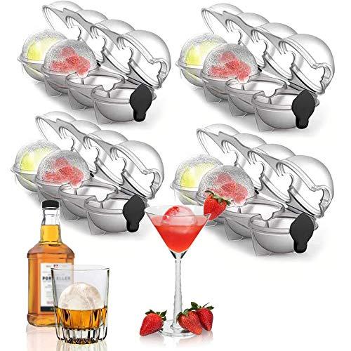 Molde de hockey sobre hielo redondo para whisky, molde de hockey sobre hielo de cuatro agujeros,utilizado para cócteles, bebidas, moldes de hockey sobre hielo de cocina (4pcs)