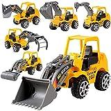 GaLon 6 PZ Set Giocattolo Mini Veicoli di Costuzione Veicoli Edili Camion Escavatore Ruspa Piccoli Costruttori Gioco per Bambini Regalo Natale Compleanno