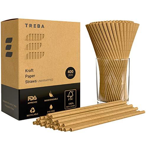 TREBA 400 Biologisch Abbaubare Trinkhalme aus Kraftpapier – Auswickeln Trinkhalme – Farbstofffreie Einweg-Strohhalme für Cocktails, Kalte und Heiße Getränke