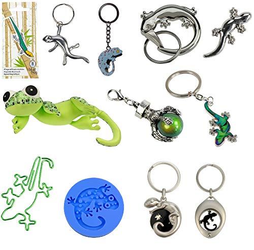 netproshop Geschenkideen Gecko Schlüsselanhänger Pin Nackenkissen Büroklammern Lesezeichen, Groesse:Gecko, Motiv:R01968 Schlüsselanhänger Gecko schwarz