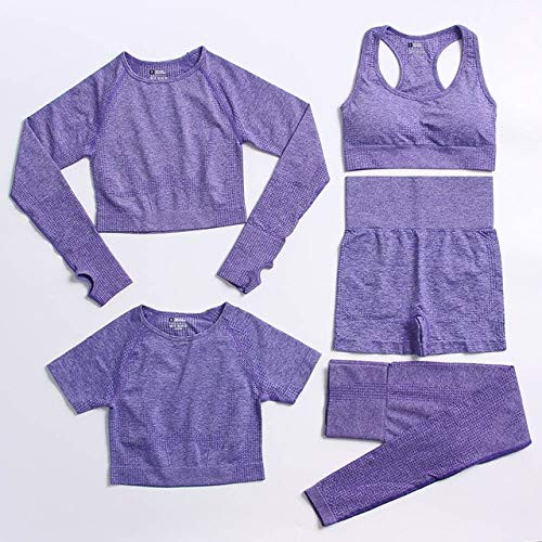 2/3/5 Uds Conjunto de Yoga sin Costuras Ropa Deportiva de Entrenamiento Ropa de Gimnasio Fitness de Manga Larga Leggings de Cintura Alta Deportes Mujeres Trajes de Fitness