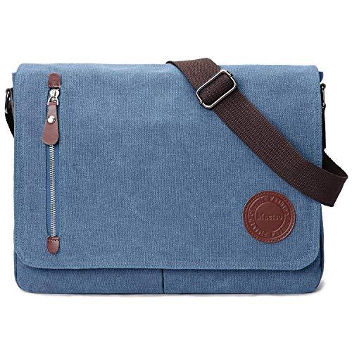 Vintage Canvas Satchel Messenger Bag for Men Women,Travel Shoulder bag 13.5' Laptop Bags Bookbag (Blue)