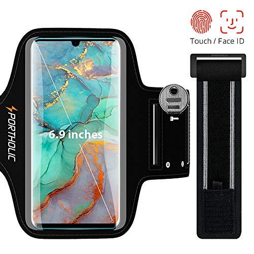Sportarmband Handy, PORTHOLIC Schweißfest Sport Armband für Huawei P30 P20 P40, Mate 20 Pro, Galaxy S20 Ultra, für Joggen Radfahren Wandern, mit Verlängerungsband, Bis zu 6,9