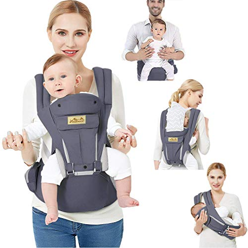 Viedouce Infant Child Carrier with Seat Adjustable Belt Lightweight Baby Front Back Carrier for Toddler, Dark Gray