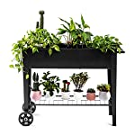 Zizin Raised Garden Planter Box with Legs Outdoor Metal Elevated Garden Bed On Wheels Apartment Vegetables Herb Kit,40… 8 Metal Material: The raised flower beds outdoor is made of stable galvanized steel, the frame is solid and reinforced.It can be used to place outside or indoor for long time Drainage: In the middle of the cart is a water hole and drainage line to prevent waterlogging, planter can planted directly in the bed Easy Assemble: Space saving standing planter is easy to put together, go ahead to raise the plants.