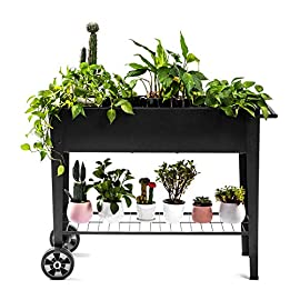 Zizin Raised Garden Planter Box with Legs Outdoor Metal Elevated Garden Bed On Wheels Apartment Vegetables Herb Kit,40… 3 Metal Material: The raised flower beds outdoor is made of stable galvanized steel, the frame is solid and reinforced.It can be used to place outside or indoor for long time Drainage: In the middle of the cart is a water hole and drainage line to prevent waterlogging, planter can planted directly in the bed Easy Assemble: Space saving standing planter is easy to put together, go ahead to raise the plants.