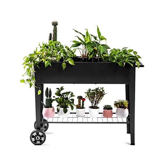 Zizin Raised Garden Planter Box with Legs Outdoor Metal Elevated Garden Bed On Wheels Apartment Vegetables Herb Kit,40… 1 Metal Material: The raised flower beds outdoor is made of stable galvanized steel, the frame is solid and reinforced.It can be used to place outside or indoor for long time Drainage: In the middle of the cart is a water hole and drainage line to prevent waterlogging, planter can planted directly in the bed Easy Assemble: Space saving standing planter is easy to put together, go ahead to raise the plants.
