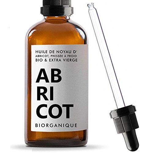 Huile de Noyau d'Abricot 100% Bio, Pure, Naturelle et Pressée à froid - 100 ml - Soin pour Cheveux, Corps, Peau