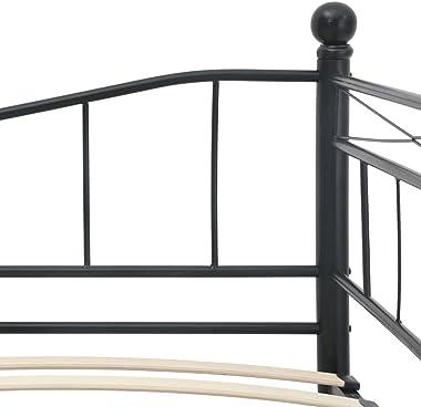 LIUBIAONET Lits & Cadres de lit Cadre de lit Noir Acier 180x200/90x200 cm