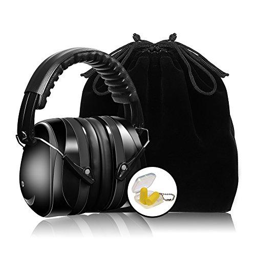 Casque Anti Bruit pour Enfant Adulte Pliable, Casque Antibruit à Protection Auditive, Casque Anti-Bruit Reglable a Reduire du Bruit, NRR 35dB, Noir