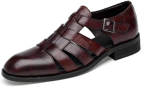 Sandales en Cuir Cuir Cuir Homme d'affaires Décontractées Chaussures Occasionnels Conduite paniers Sandales Bout Fermé df3