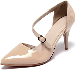 Single Buckle Solid Color High Heel Sandals (Color : Apricot, Size : 41)