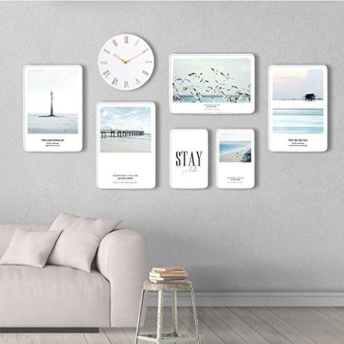 Ensemble de cadre photo, 6 Set Collage de cadres photo, combinaison créative avec horloge murale (Couleur : E)
