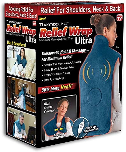 New Thermapulse Relief Wrap Ultra - Massage Heating Pad with Fast-Heating Technology, Heat Therapy Wrap with 4 Massage Setting,