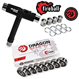 Fireball Dragon Precision Skateboard Bearing Bundle | Includes 8X Bearings, Spacers, Speed Rings & Tool | 608 Bearing for Skateboards, Longboards, Inline Skates, Roller Skates, Spinners (Race)
