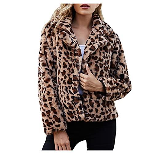 H.eternal(TM) Chaqueta de forro polar de leopardo de invierno para mujer, de manga larga, casual, cuello vuelto, abrigo corto de invierno de felpa de piel cálida, amarillo, XXL