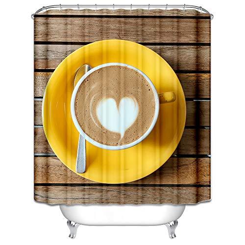 Daesar 3D Lustiger Duschvorhang 150x200 cm Herz Cappuccino Duschvorhang Antischimmel aus Polyester-Stoff