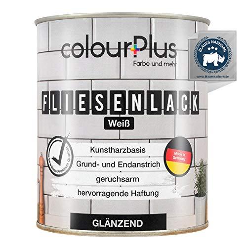 colourPlus® Fliesenlack (750ml, Weiß) glänzender 1K Fliesenlack Weiß - Farbe für Fliesen - Fliesen streichen - Fliesenfarbe Bad - Made in Germany