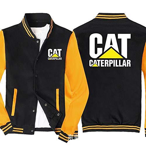 Sweat-Shirt Veste Homme Caterpillar Imprimé Sweat-Shirt à Manches Longues De Baseball Uniforme Zip Blousons - Cadeau Ado Black Yellow- 2XL