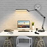 Flexo led Escritorio,FUUCOK Brazo Telescópico Ajustable Alargado, Lámpara de Escritorio con Gama de Iluminación más Amplio,Lámpara de mesa con 10 Niveles de Brillo,función de memoria