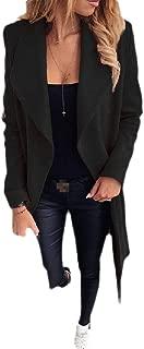 Macondoo Women Outwear Trench Coat Solid Winter Lapel Cardigan Peacoats