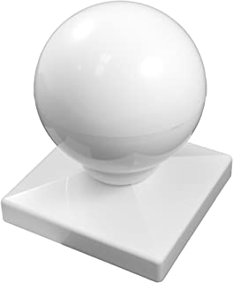 Durable White PVC Vinyl Dome Ball Post Cap for A True 5 Inch X 5 Inch Post | Single Pack | AWCP-Ball-5