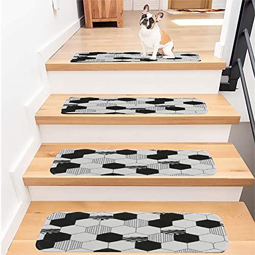 SLDAGe Juego De 1/5/6/7/13/14/15 Almohadillas para Escaleras, Decoración para El Hogar Antideslizantes para Interiores Y Escaleras, Modernas Alfombrillas para Escaleras - Patrón Geométrico,13PCS