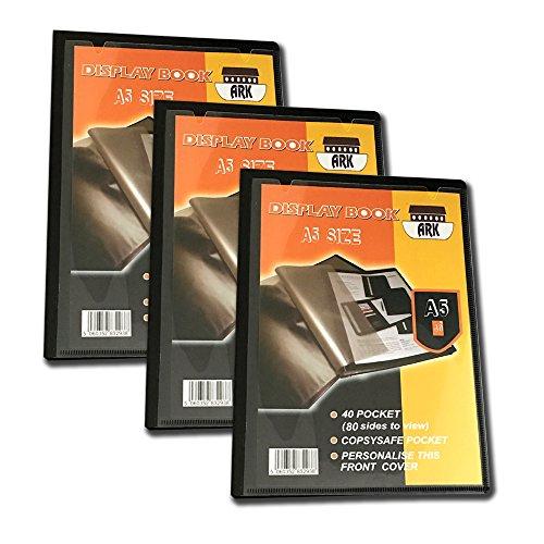 3 x Ark Sichtbuch A5 (für Präsentationen), (40 Taschen)