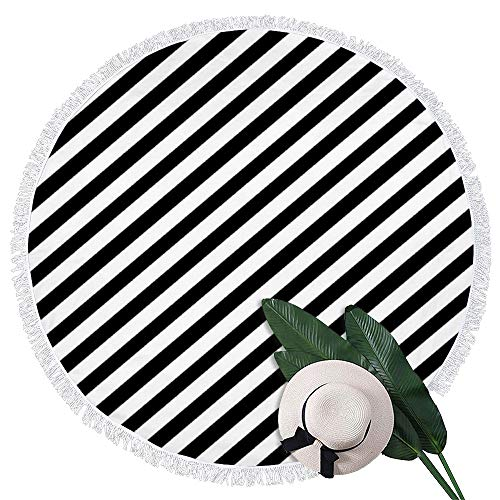 perfecone - Toalla de playa redonda de sarga blanca y negra