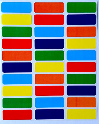 Colored Coding Labels Rectangular 1.375 inch by 0.5 Inch - Assorted Colors Coding 6 Colors-Blue, Purple, Green, Orange, Red and Yellow Multi Pack Classic Colors Stickers semi Gloss 360 Pack