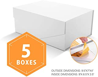 PACKHOME Gift Boxes Rectangular 9.5x7x4 Inches, Bridesmaid Boxes Rectangle Collapsible Boxes with Magnetic Lids for Gift Packaging (Matte White with Embossing, 5 Boxes)